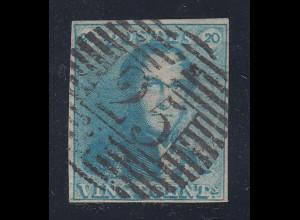 Belgien 1.Ausgabe 1849 20C-Wert in Farbe hellgrünlichblau, Mi.-Nr. 2c gestempelt