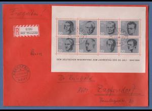 Bundesrepublik Widerstandskämpfer-Block auf R-Brief von Ebensfeld n. Zapfendorf