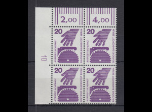 Berlin Unfall 20 Pfg.-Wert ECKRAND-Viererblock OL mit Druckerzeichen 10 **