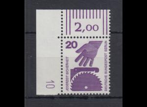 Berlin Unfall 20 Pfg.-Wert Eckrandstück OL mit Druckerzeichen 10 **