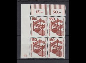 Berlin Unfall 150 Pfg.-Wert ECKRAND-Viererblock OL mit Druckerzeichen 10 **