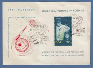 DDR 1962. Gruppenflug im Kosmos Blockausgabe Mi.-Nr. Block 17 auf FDC