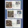 Frankreich 1962 Courbet, Manet, Géricault, Mi.-Nr. 1415-17 auf 3 FDC