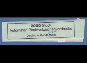Deutschland ATM Mi.-Nr. 1 Banderole für Vordruckrolle Kontrollstempel 12.8.86