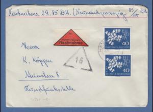 Bund 1961 EUROPA Taube Mi.-Nr. 368 2 Werte als MEF auf NN-Brief über 20g.