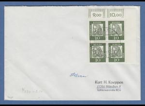 Bund 1961 Dürer Eckrandviererblock OR auf FDC mit Sonderstempel BONN