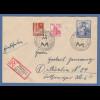 Bizone Exportmesse 30Pfg Mi.-Nr. 105 MIF auf R-Brief München Handwerksmesse 1949