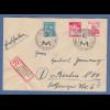 Bizone Kölner Dom 12 / 24 Mi.-Nr. 70,71 auf R-Brief München Handwerksmesse 1949