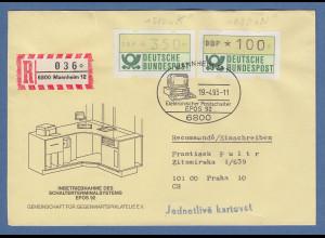 Deutschland ATM 1.Ausgabe je eine ATM Mi.-Nr. 1.1 und 1.2 auf R-Brief nach Prag