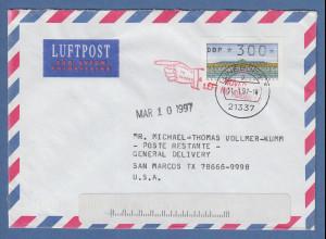 ATM Mi.-Nr. 2.1.1 Wert 300 auf Brief in die USA O LÜNEBURG 1997, unbek. verzogen