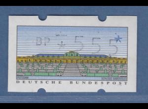 ATM Sanssouci Mi.-Nr. 2.1.1 hoher Wert 555 schlecht gedruckt, leicht verschoben