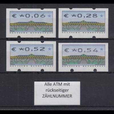 Deutschland ATM Sanssouci Druck N24 Wertfehldrucke mit €-Zeichen 4 Werte **