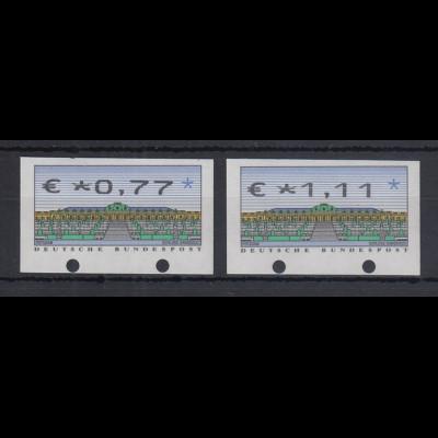 Deutschland ATM Sanssouci Druck N24 Wertfehldrucke mit €-Zeichen 2 Werte **