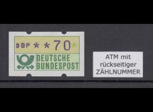 ATM Blaue Münchner Abart mit blauviolettem Werteindruck Wert 70Pfg mit Nr. **