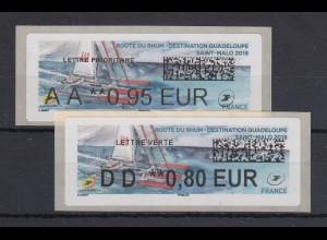 Frankreich 2018 ATM Route du Rhum Werte AA 0,95 EUR und DD 0,80 EUR **