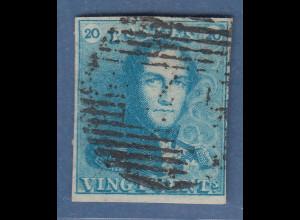 Belgien 1.Ausgabe 1849 20C-Wert in Farbe milchblau, Mi.-Nr. 2b gestempelt