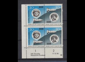 DDR 1963 Weltraumflug Mi.-Nr. 970-71 Eckrandpaar mit Druckvermerk (DV) **