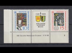 DDR 1964 Leipziger Herbstmesse Mi.-Nr. 1052-1053 ZSD mit Druckvermerk **