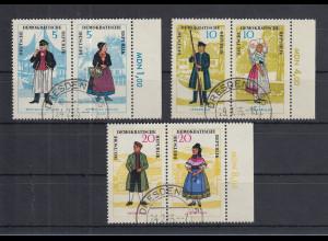 DDR 1964 Volkstrachten Mi.-Nr. 1074-1079 kpl. Satz 3 ZSD-Paare bedarfs-O DRESDEN