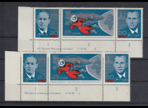 DDR 1965 Kosmonauten Mi.-Nr. 1138-40 ZSD mit DV mit röm. Formnummer I und II