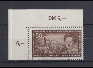 DDR 1955 Rosa Luxemburg 60Pfg. Mi.-Nr. 478 X II Eckrandstück o.l. gestempelt