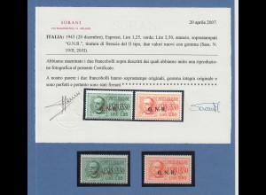 Italien Militärpost Nationalgarde G.N.R. Eilmarken Mi-Nr. 33-34 II ** mit ATTEST