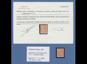 Italien 1863 Victor Emanuel II. 10 C. Londoner Druck Mi.-Nr. 17 *, Attest Sorani