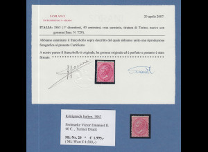 Italien 1863 Victor Emanuel II. 40 C. Turiner Druck Mi.-Nr. 20 *, Attest Sorani