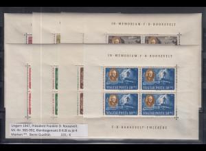 Ungarn 1947-1952 Roosevelt Mi.-Nr. 985-992 Kleinbogen-Satz **