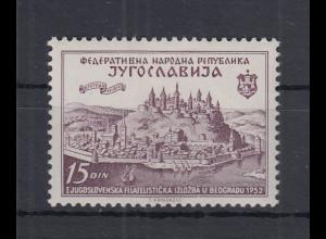Jugoslawien 1952 Briefm.-Ausstellung Belgrad Mi.-Nr. 707 **