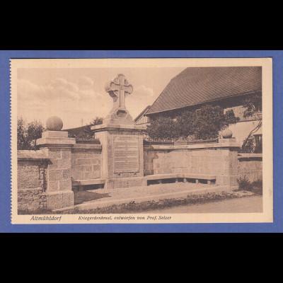 Alte AK 84453 Ecksberg Kriegerdenkmal entworfen v. Prof. Selzer, unbeschrieben