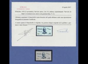 Italien 1934 Flugpost-Dienstmarke Postflug Rom-Mogadischu Mi.-Nr. 10 ** Attest