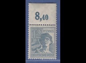 Arbeiter 12 Pfg, Oberrandstück Platte durchgezähnt, Mi.-Nr. 947 POR dgz ** 8,40