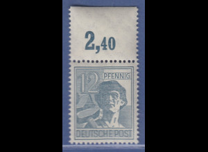 Arbeiter 12 Pfg, Oberrandstück Platte durchgezähnt, Mi.-Nr. 947 POR dgz ** 2,40
