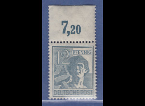 Arbeiter 12 Pfg, Oberrandstück Platte durchgezähnt, Mi.-Nr. 947 POR dgz ** 7,20