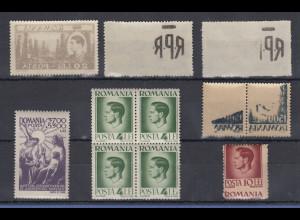 Rumänien Lot 7 verschiedene Abarten / Besonderheiten **