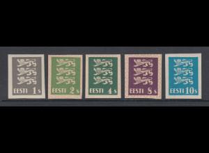 Estland Wappenlöwe 1928 5 ungezähnte Probedrucke, alle **