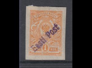 Estland 1919 Lokalausgabe Tallinn 1 K orange geschnitten Mi.-Nr. 1B *