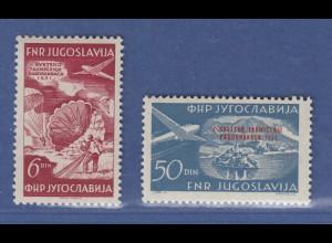Jugoslawien 1953 Fallschirmspringer-Wettbewerb Mi.-Nr. 666-67 Satz **