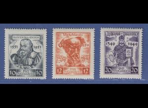 Jugoslawien 1951 Mittelalterliche Schriftsteller Mi.-Nr. 668-70 Satz **