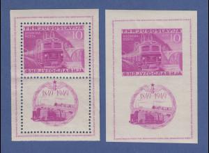 Jugoslawien 1949 Eisenbahn-Jubiläum Blockausgabe Mi.-Nr. Block 4 A / B **
