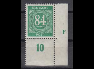 Ziffer 84 Pfg. Mi.-Nr. 936 unteres Eckrandstück mit seltenem Druckerzeichen F **