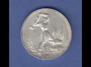 Sowjetunion Silbermünze 50 Kopeken Arbeiter 1925, vorzüglich !