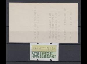 ATM Mi.-Nr. 1.1 Justierfehler Balken statt Stern, Wert *-10 mit AQ REUTLINGEN