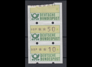 ATM Mi.-Nr. 1.1 zusammenh. 3er-Streifen Knickdruck 60er, 50er, 10er