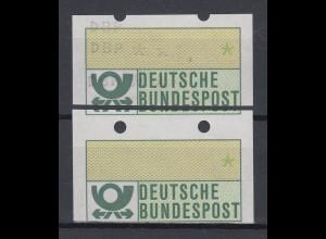 ATM Mi.-Nr. 1.1 zusammenh. Paar 3 Teil-Doppeldrucke / Leerfeld