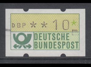 ATM Mi.-Nr. 1.1 mit Typenradabdrucken links und rechts, Wert DBP**10