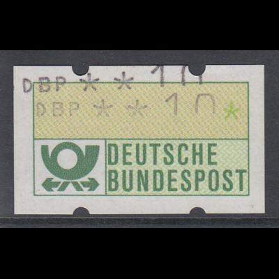 ATM Mi.-Nr. 1.1 Doppeldruck Wert 10Pfg. Unterer ohne, oberer mit Farbband.