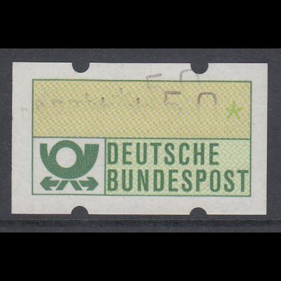 ATM Mi.-Nr. 1.1 Teil-Doppeldruck Wert 50Pfg. Beides Typendrucke ohne Farbband.
