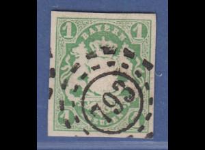 Bayern Wappen 1 Kreuzer grün Mi-Nr. 14a mit OMR 793 Mittwitz